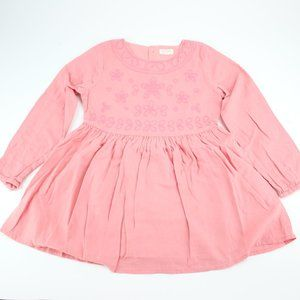 Girls Collection Pink Embroidered Dress Long Sleev